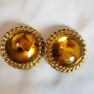 Gold Tone Large Round Clip Earrings